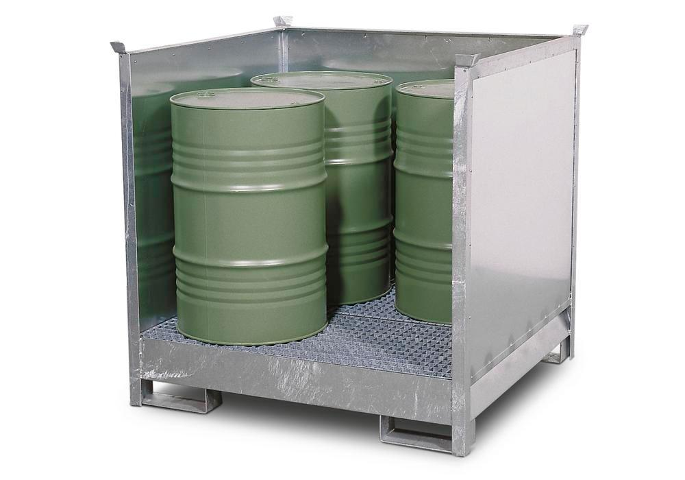 HazMat station 4 P2-O in steel, galvanised, for 4 x 205 litre drums, stackable