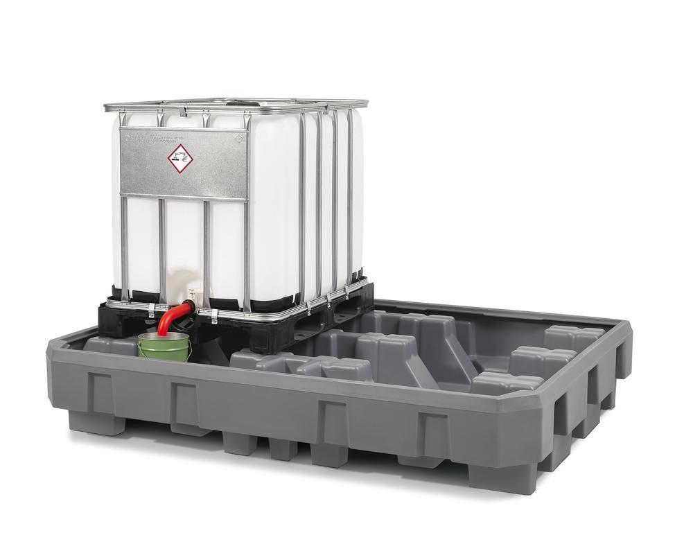 IBC Station EURO-2R in polyethylene (PE), with dispensing area, for direct storage of 2 IBCs