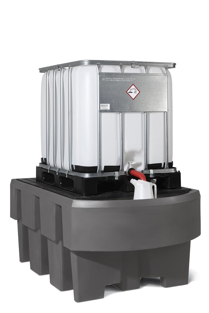 IBC sump pallet EURO-1R, polyethylene, with dispensing area, galvanized storage base, for 1 IBC