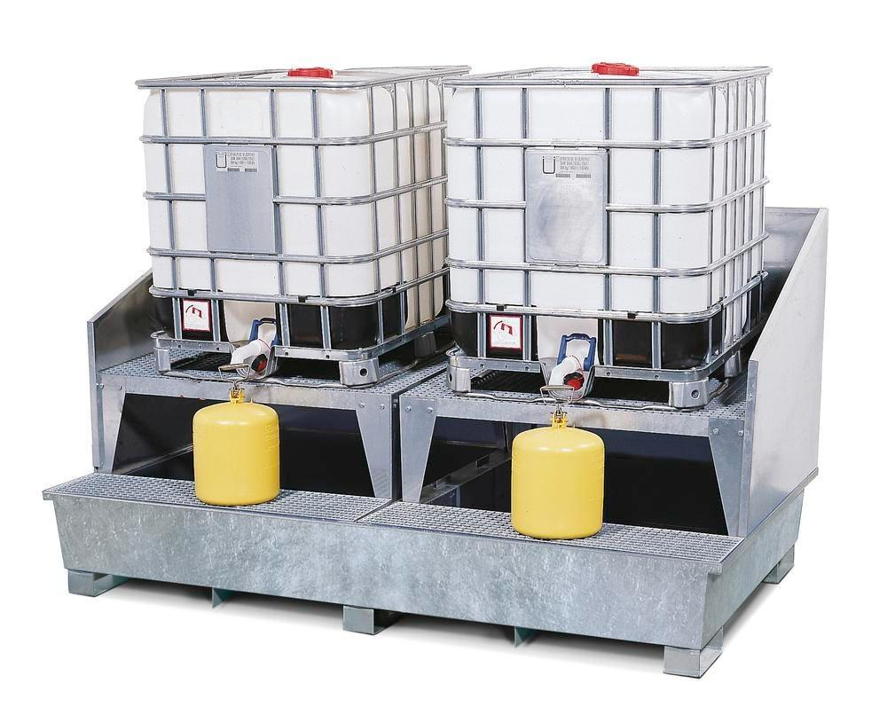 IBC sump pallet TC-2A, galvanized steel, with 2 dispensing platforms & forklift pockets, for 2 IBCs - 1