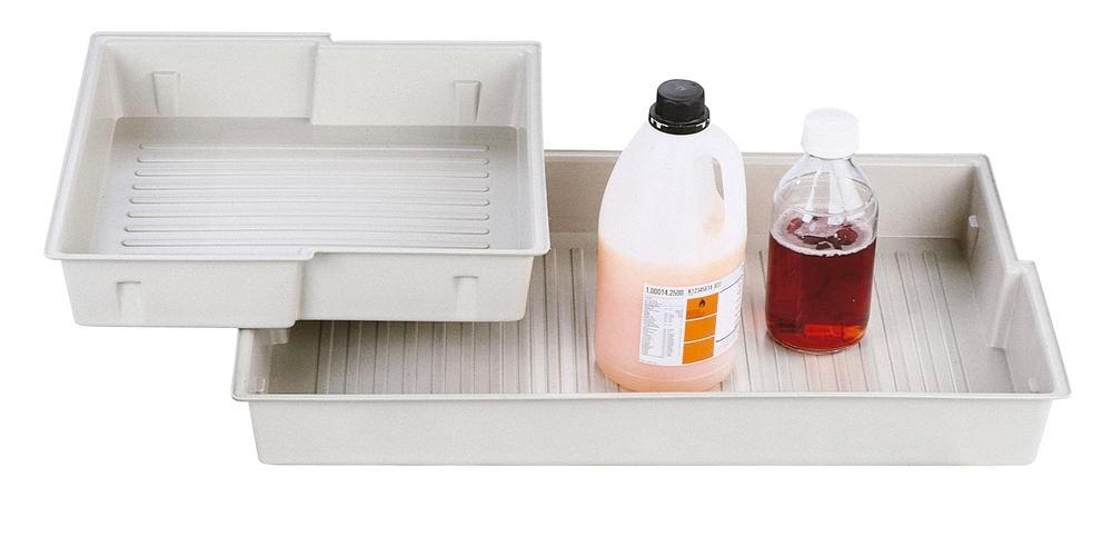 PP inlay sump for hazardous material cabinets GT 600, white - 1