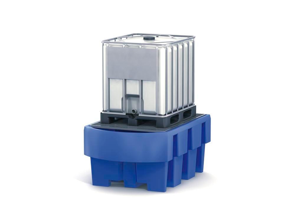 Spill pallet classic-line in polyethylene (PE) for 1 IBC, with dispensing area and galvanised grid - 1