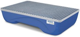Spill pallet pro-line in steel for 2 drums, painted, accessible underneath, with grid, 846x1322x330-w280px