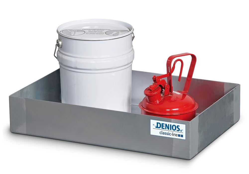 Spill tray for small containers classic-line in stainless steel, 20 litre, 310x545x145 - 1