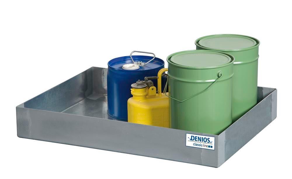 Spill tray for small containers classic-line in steel, galvanised, 40 litre, 600x800x120