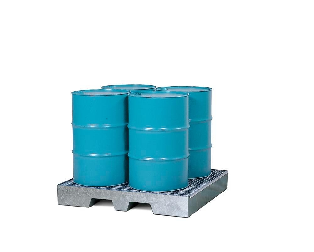 Sump pallet 4P2-LP, galvanized steel, with pedestal feet and grid, for 4 x 205 litre drums