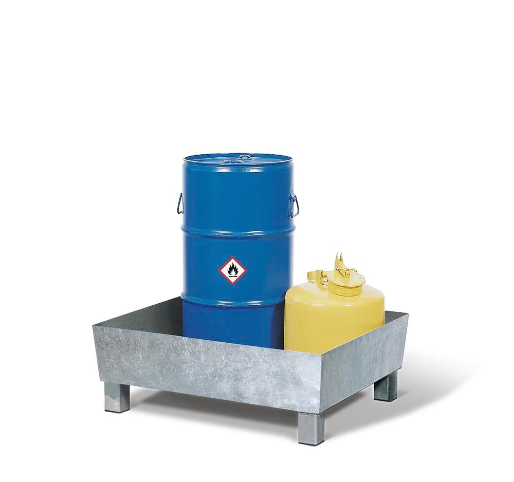 Sump pallet Basic K, galvanized steel, with feet, without grid, for 1x60 ltr drum, 60 litre capacity