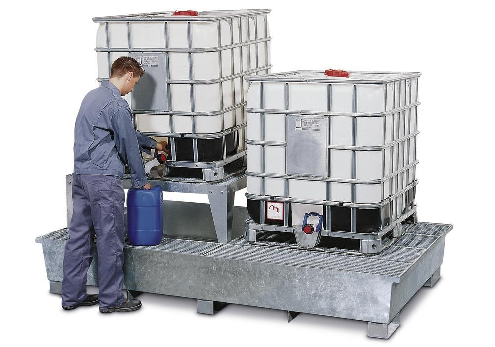 Sump pallet TC-2A, galvanized steel, with base feet and 1 drum mount, for 2 IBCs - 1