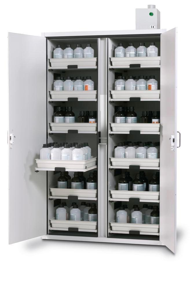 asecos acid and alkali cabinet SL 1212 with 2-wing door and 12 slide-out spill trays