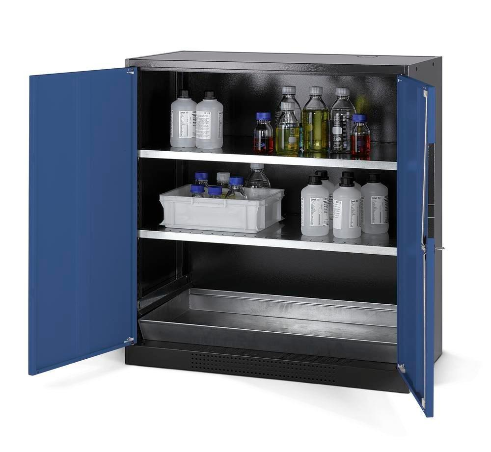 asecos chemicals cabinet Systema CS-102, body anthracite, blue, 2 shelves and floor spill pallet