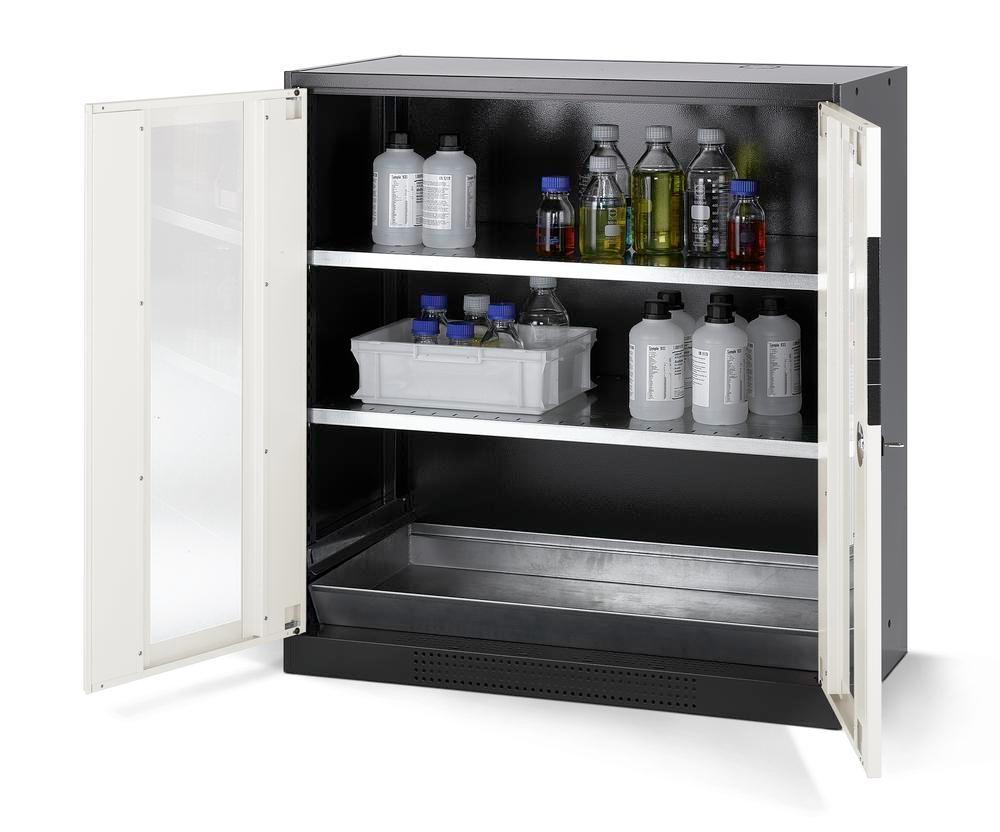asecos chemicals cabinet Systema CS-102G, body anthracite, white, 2 shelves and floor spill pallet