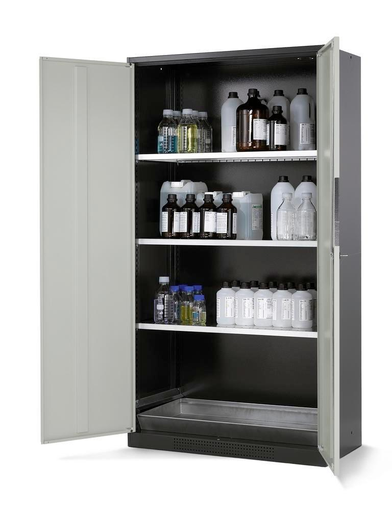 asecos chemicals cabinet Systema CS-103, body anthracite, grey, 3 shelves and floor spill pallet