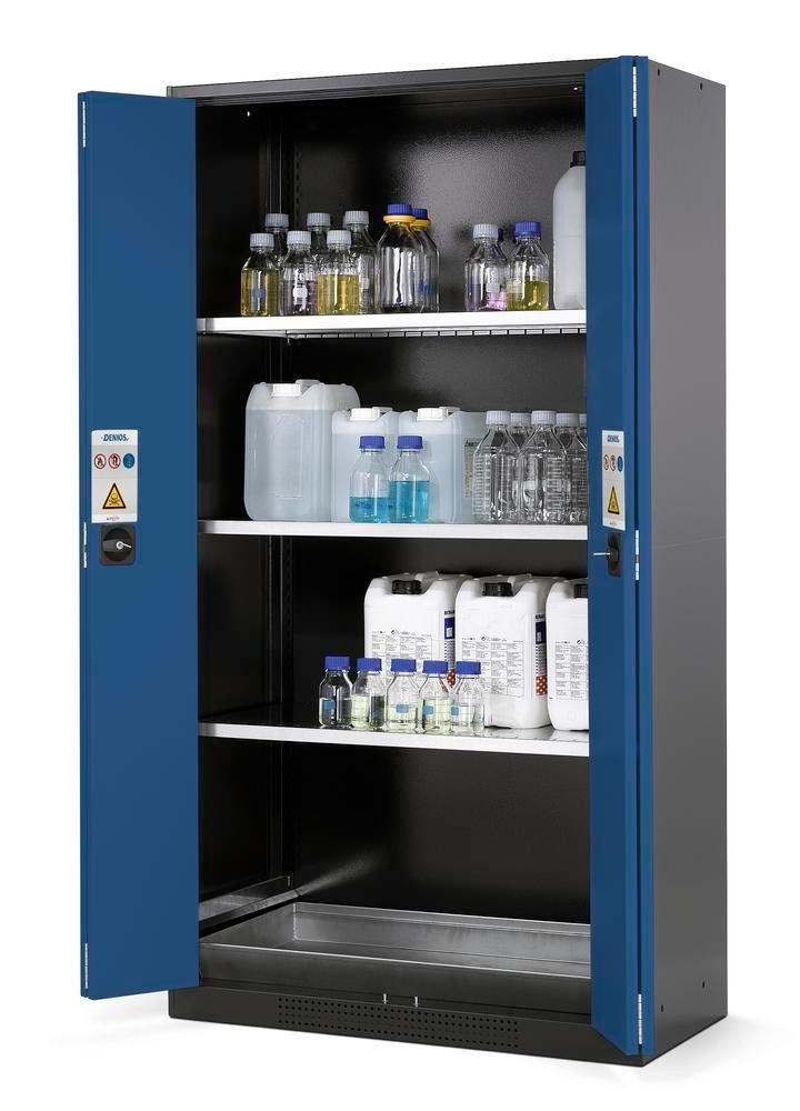 asecos chemicals cabinet Systema CS-103F, body anthracite, blue, 3 shelves and floor spill pallet