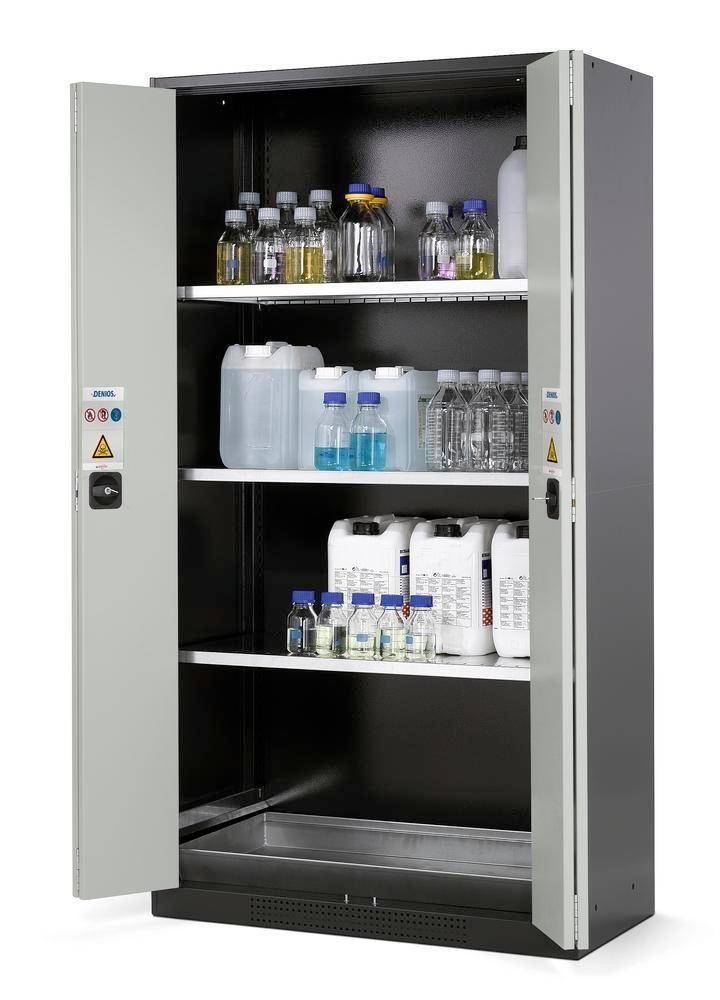 asecos chemicals cabinet Systema CS-103F, body anthracite, grey, 3 shelves and floor spill pallet
