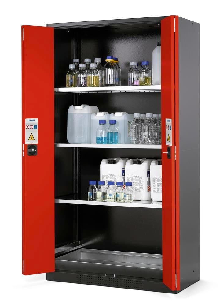 asecos chemicals cabinet Systema CS-103F, body anthracite, red, 3 shelves and floor spill pallet