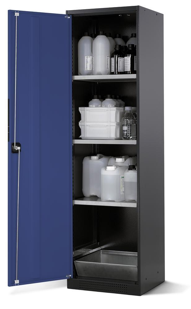 asecos chemicals cabinet Systema CS-53L, body anthracite, blue, 3 shelves and floor spill pallet