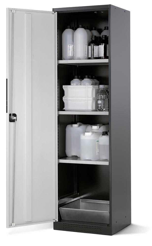 asecos chemicals cabinet Systema CS-53L, body anthracite, grey, 3 shelves and floor spill pallet
