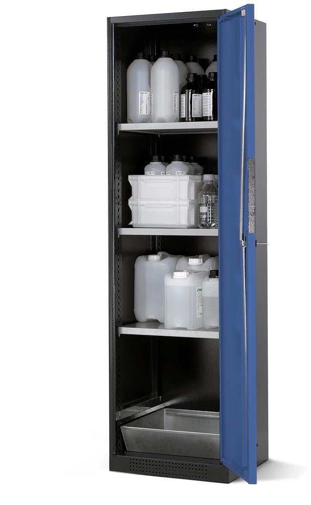 asecos chemicals cabinet Systema CS-53R, body anthracite, blue, 3 shelves and floor spill pallet