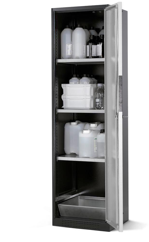 asecos chemicals cabinet Systema CS-53R, body anthracite, silver, 3 shelves and floor spill pallet