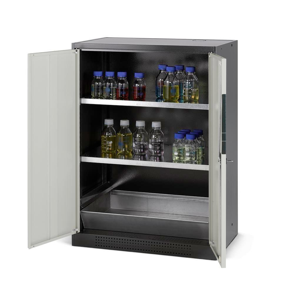 asecos chemicals cabinet Systema CS-82, body anthracite, grey, 2 shelves and floor spill pallet
