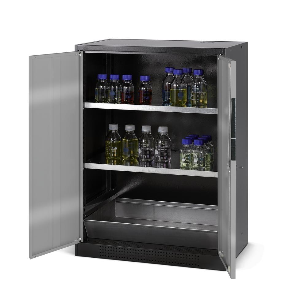 asecos chemicals cabinet Systema CS-82, body anthracite, silver, 2 shelves and floor spill pallet