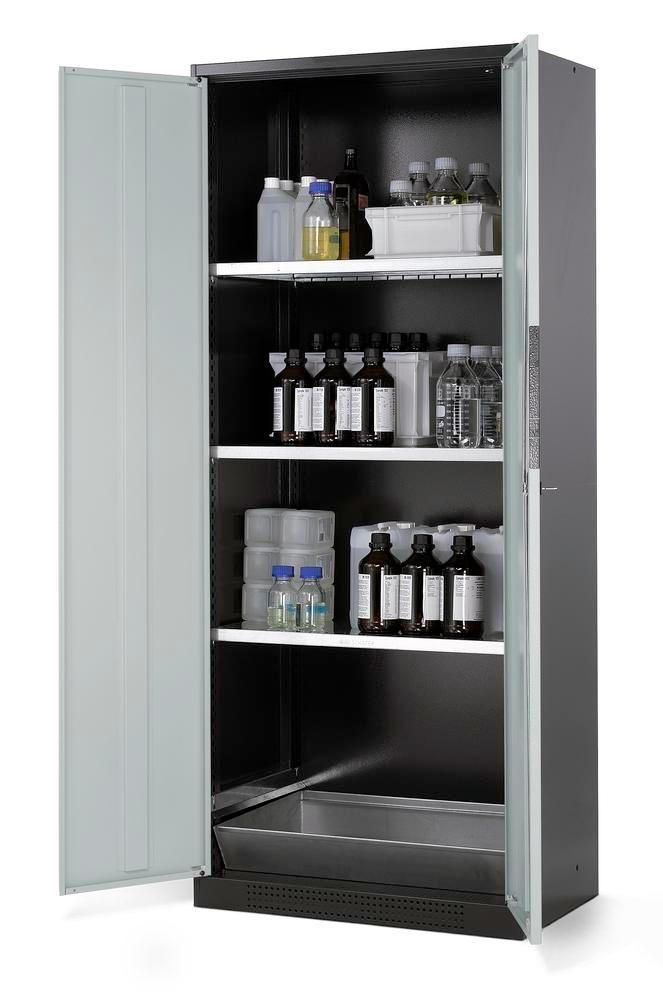 asecos chemicals cabinet Systema CS-83, body anthracite, grey, 3 shelves and floor spill pallet