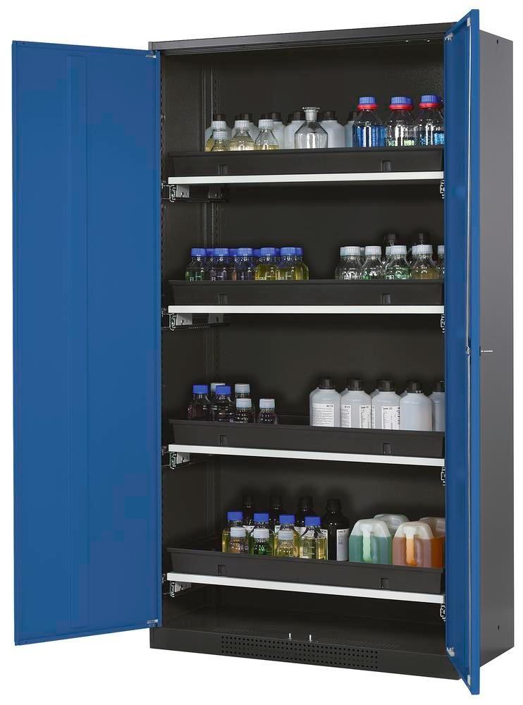 asecos chemicals cabinet Systema-T CS-104, body anthracite, blue, inc. 4 pull-out shelves