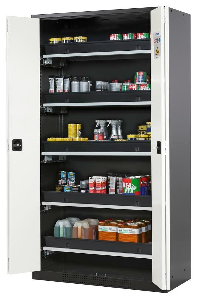 asecos chemicals cabinet Systema-T CS-105F, body anthracite, folding doors white, 5 pull-out shelves
