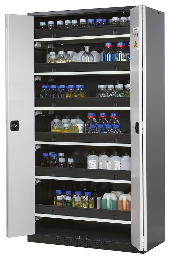 asecos chemicals cabinet Systema-T CS-106F, body anthracite, wing doors grey, 6 pull-out shelves