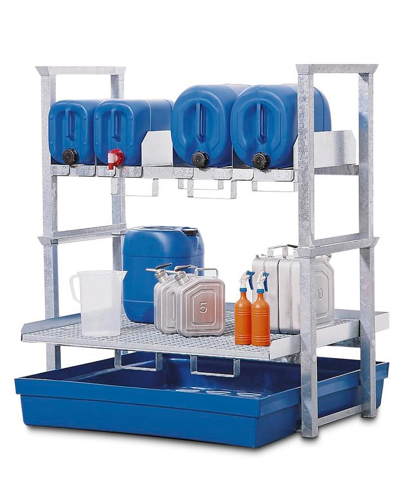 Canister and small containers rack AWK 4, with spill pallet in polyethylene (PE)