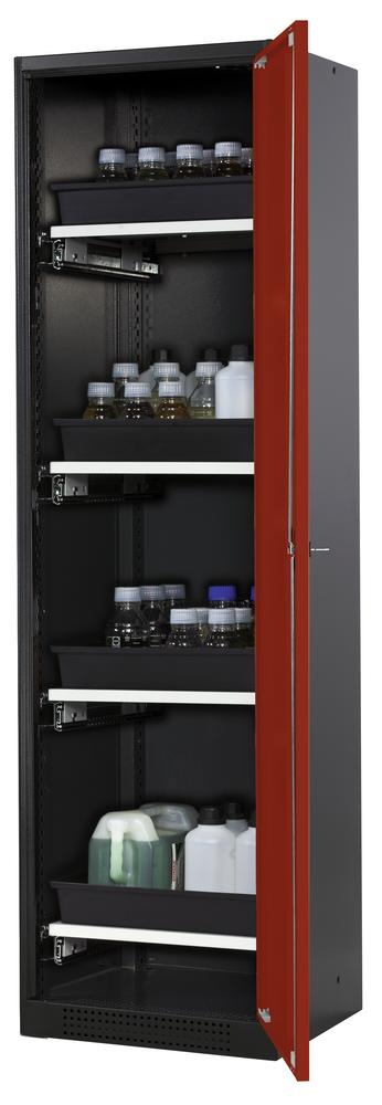 Chemical cabinet Systema CS-54R, body anthracite, red wing doors, 4 slide-out sumps