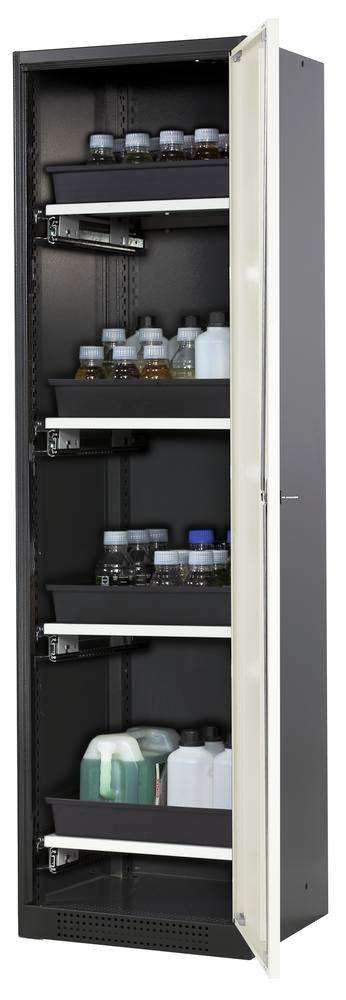 Chemical cabinet Systema CS-54R, body anthracite, white doors, 4 slide-out sumps - 1