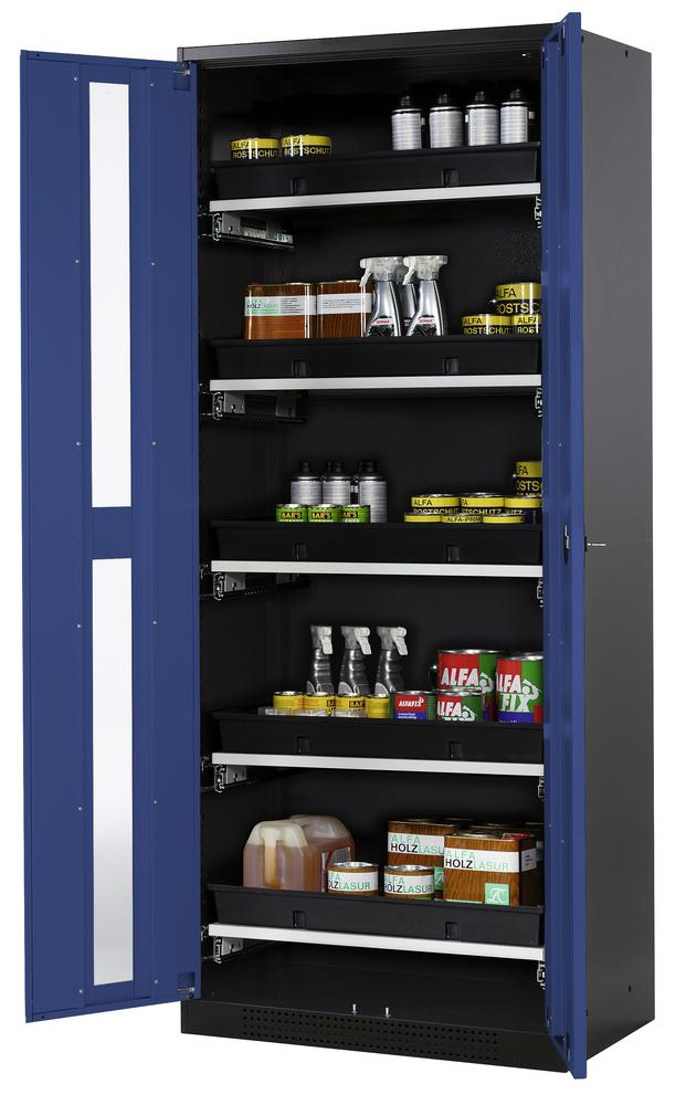 Chemical cabinet Systema CS-85G, body anthracite, blue doors, 5 slide-out sumps