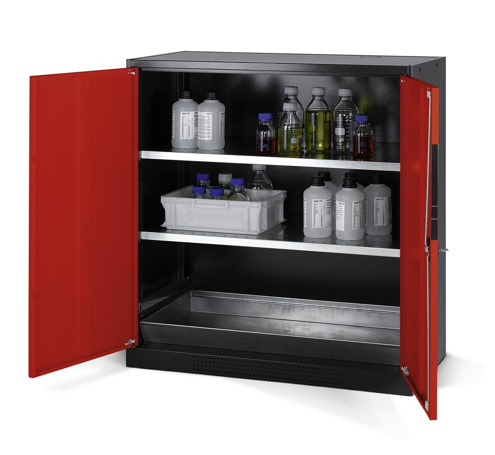 Chemicals cabinet Systema CS-102, body anthracite, wing doors red, 2 inliners and spillage decking