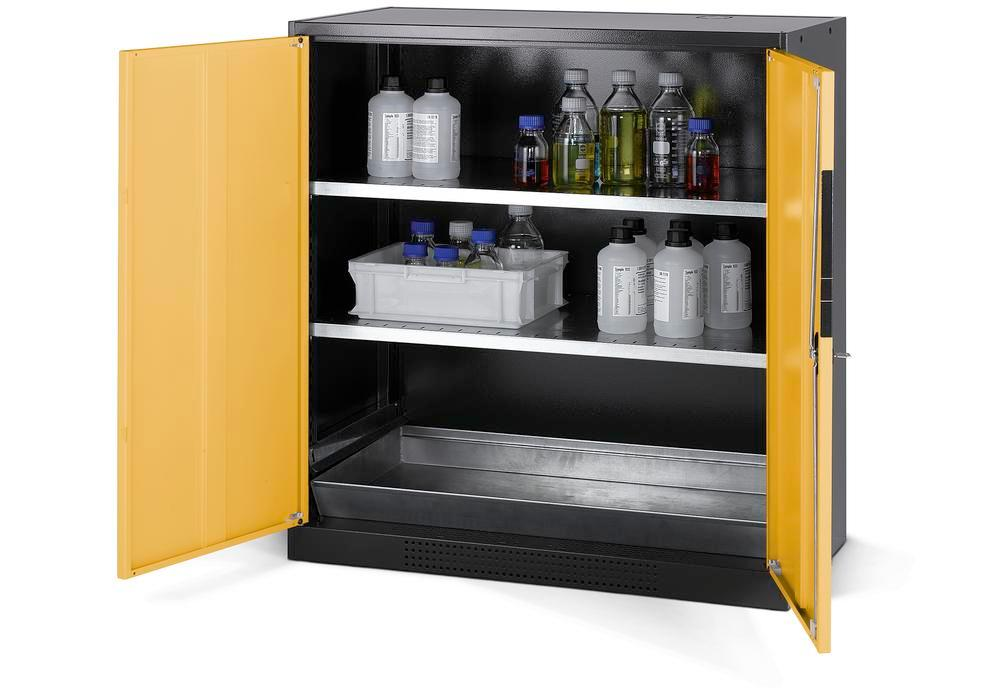 Chemicals cabinet Systema CS-102, body anthracite, wing doors yellow, 2 inliners and spillage deckin
