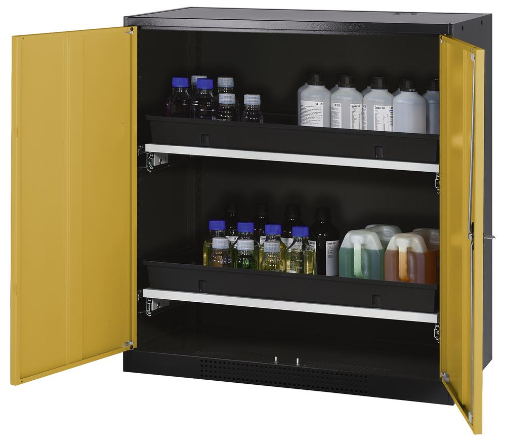 Chemicals cabinet Systema CS-102, body anthracite, wing doors yellow, 2 slide-out sumps - 1