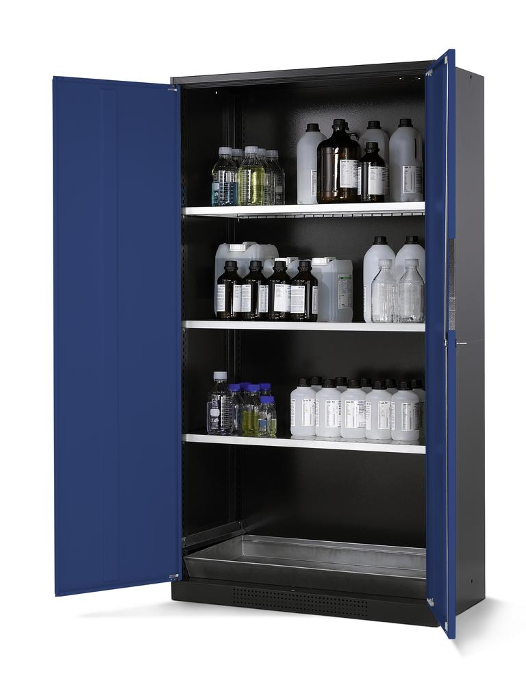Chemicals cabinet Systema CS-103, body anthracite, wing doors blue, 3 inliners and spillage decking