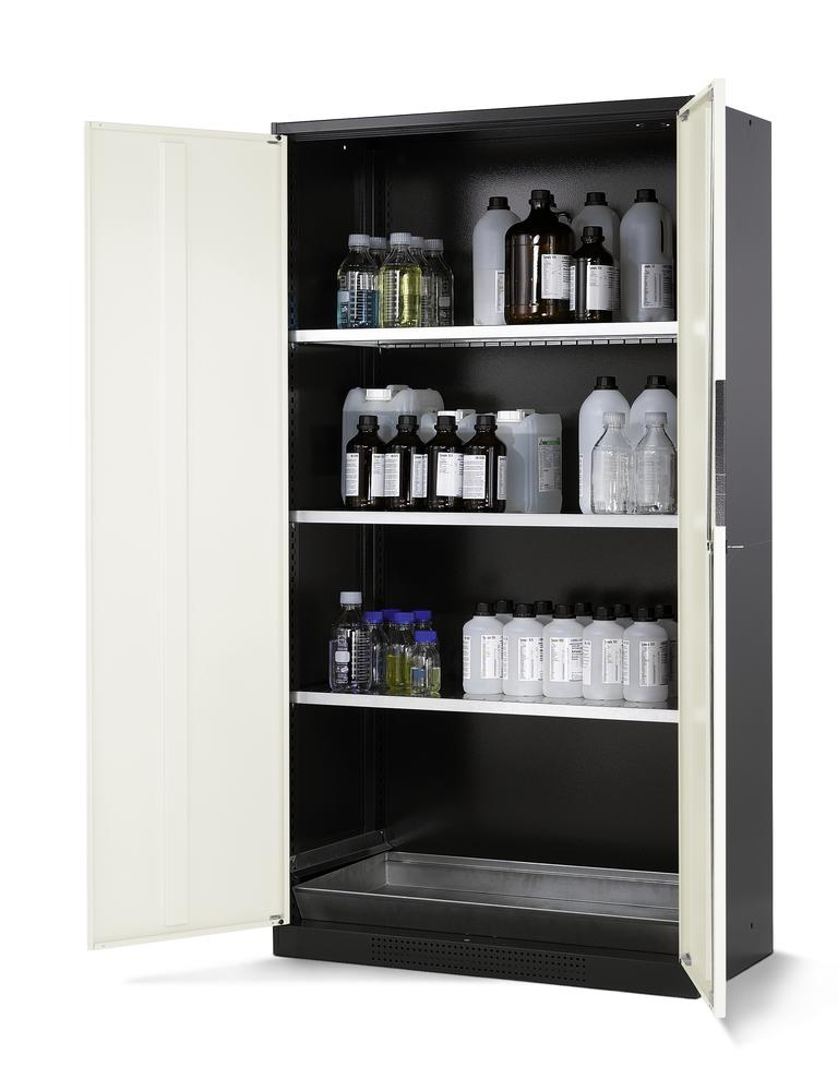 Chemicals cabinet Systema CS-103, body anthracite, wing doors white, 3 inliners and spillage decking
