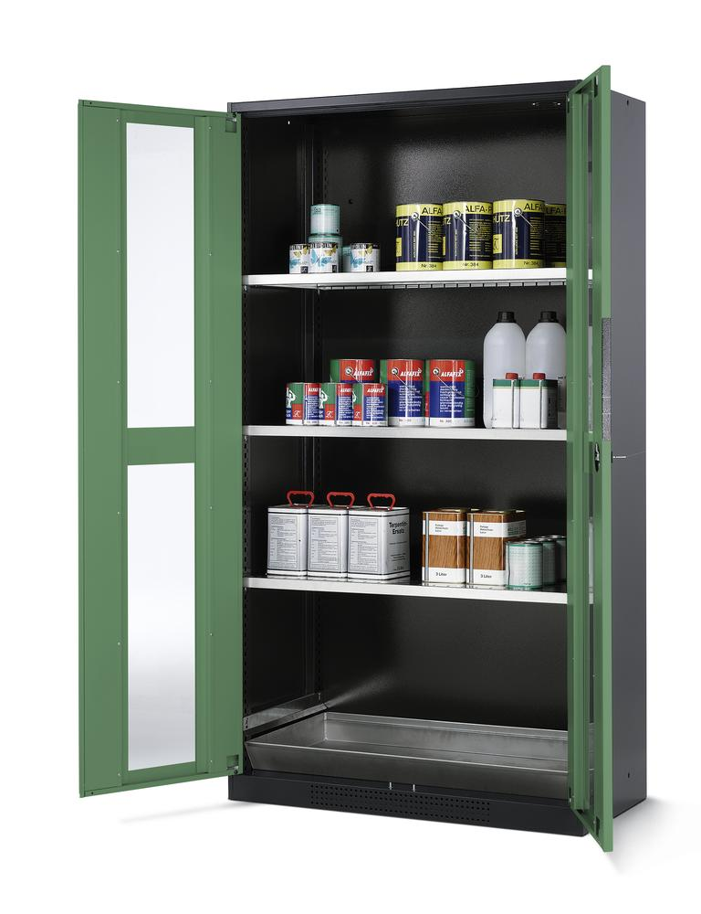Chemicals cabinet Systema CS-103G, body anthracite, wing doors green, 3 inliners and spillage deckin