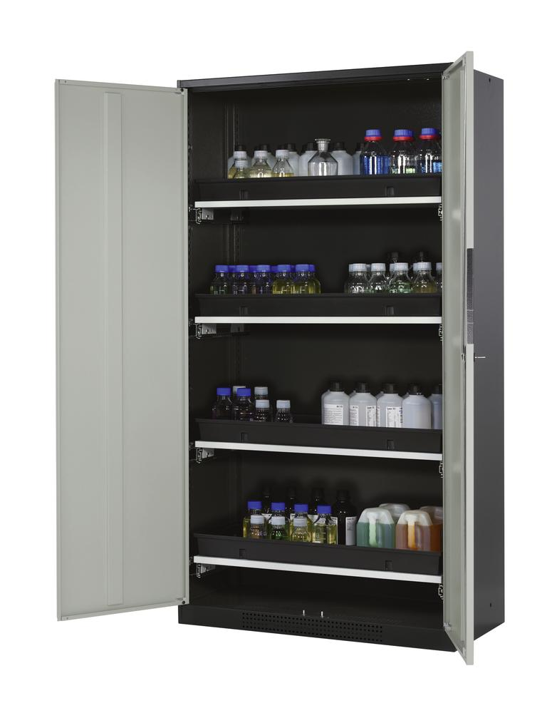 Chemicals cabinet Systema CS-104, body anthracite, wing doors grey, 4 slide-out sumps