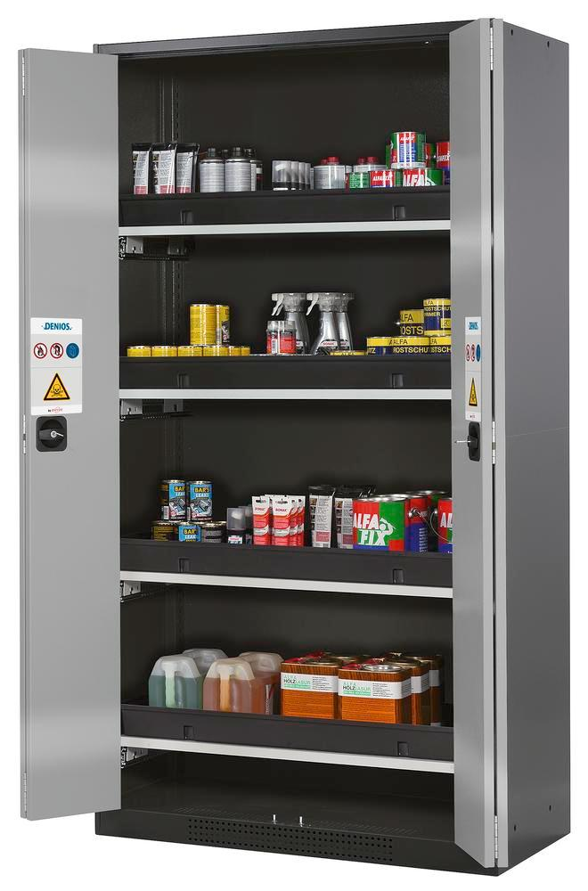 Chemicals cabinet Systema CS-104F, body anthracite, folding doors silver, incl. 4 slide-out sumps