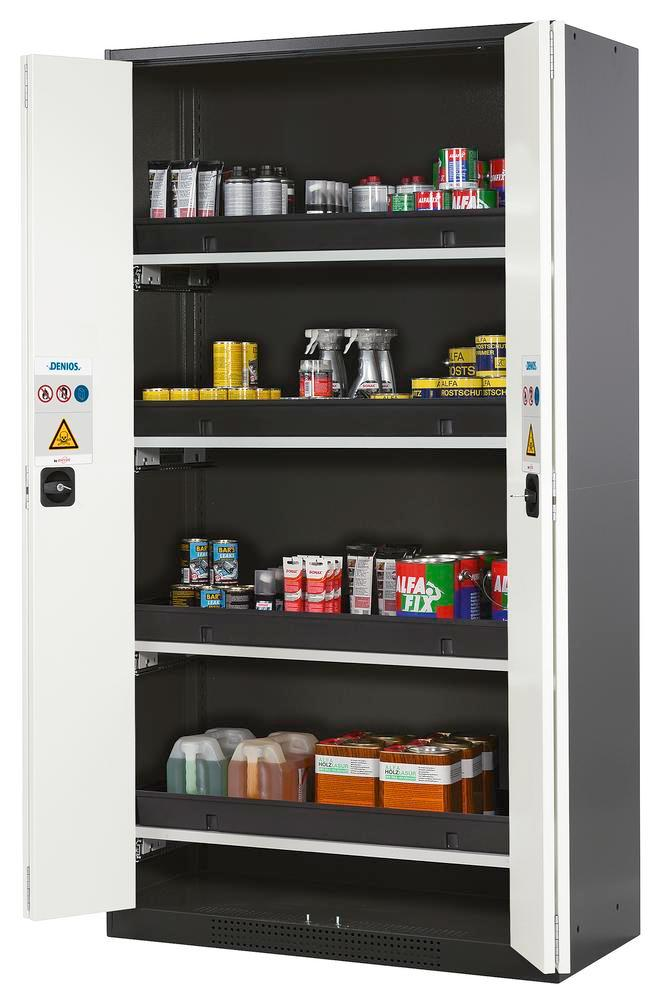 Chemicals cabinet Systema CS-104F, body anthracite, folding doors white, incl. 4 slide-out sumps - 1