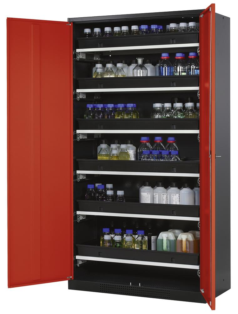 Chemicals cabinet Systema CS-106, body anthracite, wing doors red, 6 slide-out sumps