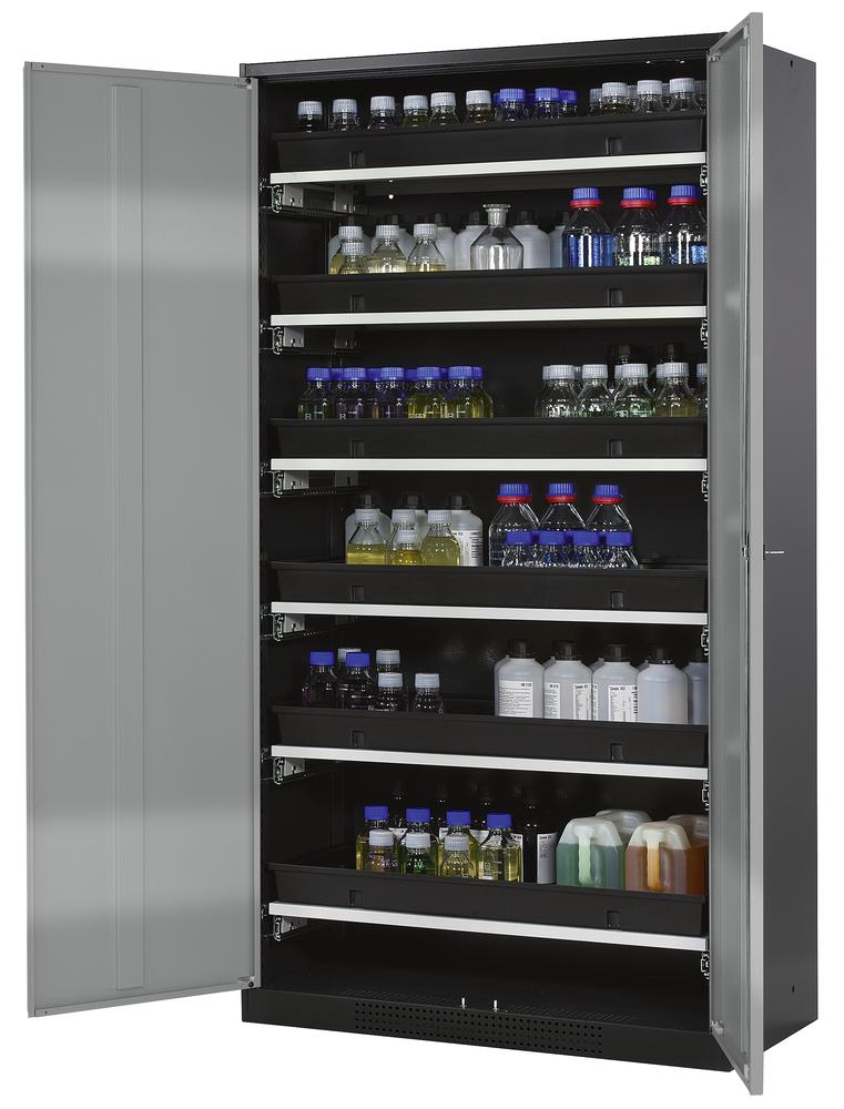 Chemicals cabinet Systema CS-106, body anthracite, wing doors silver, 6 slide-out sumps - 1