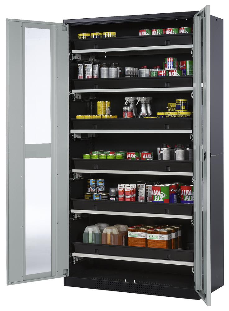Chemicals cabinet Systema CS-106G, body anthracite, wing doors grey, 6 slide-out sumps - 1