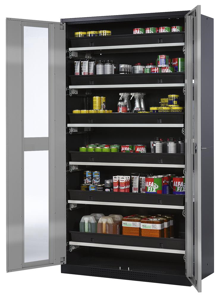 Chemicals cabinet Systema CS-106G, body anthracite, wing doors silver, 6 slide-out sumps - 1