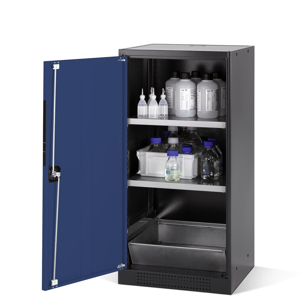 Chemicals cabinet Systema CS-52L, body anthracite, wing doors blue, 2 inliners and spillage decking