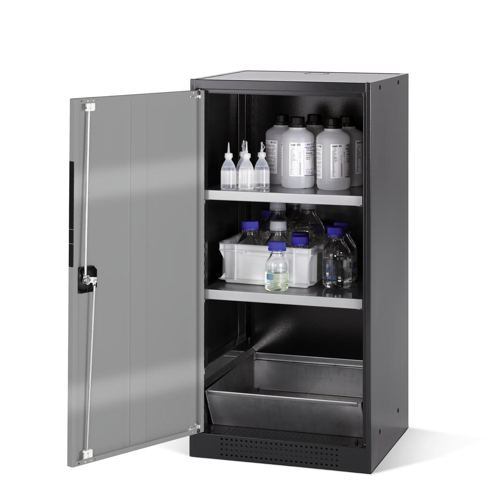 Chemicals cabinet Systema CS-52L, body anthracite, wing doors silver, 2 inliners and spillage deckin