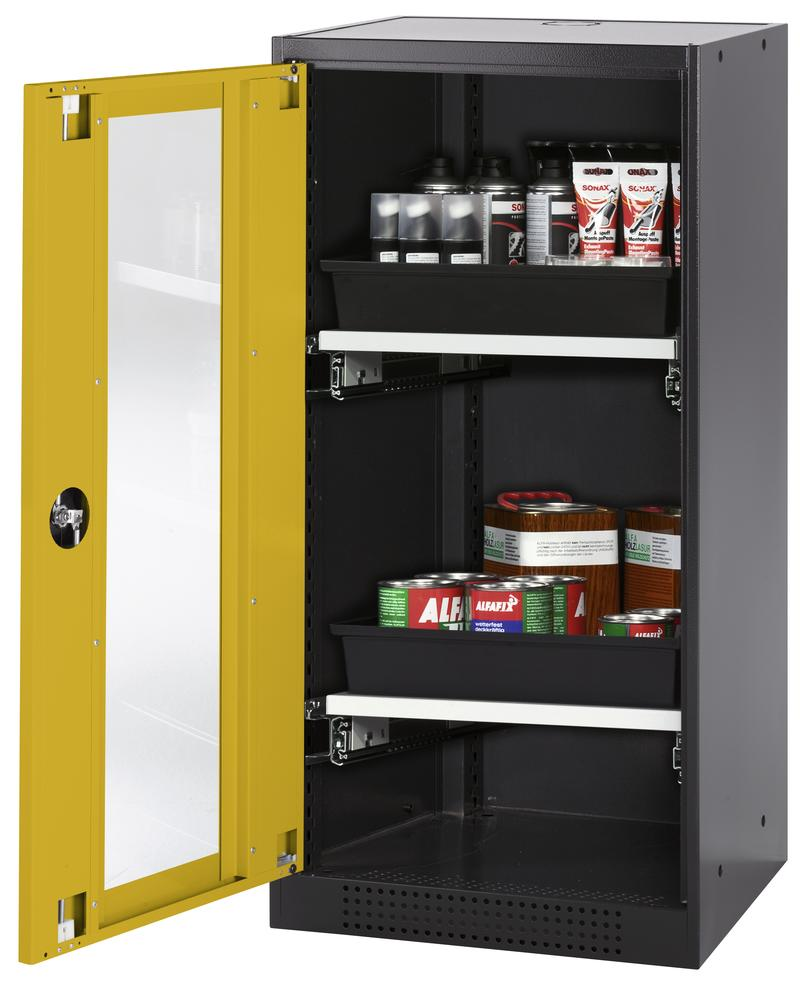 Chemicals cabinet Systema CS-52LG, body anthracite, wing doors yellow, 2 slide-out sumps