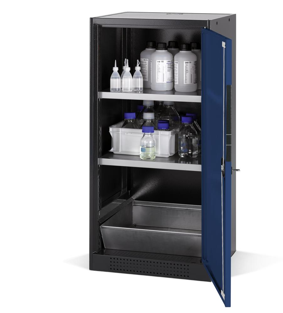 Chemicals cabinet Systema CS-52R, body anthracite, wing doors blue, 2 shelves and spill pallet